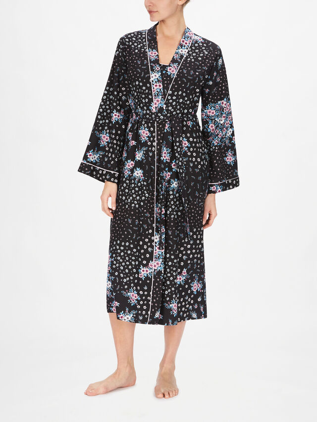 Hannah Black Ditsy Floral Print Dressing Gown