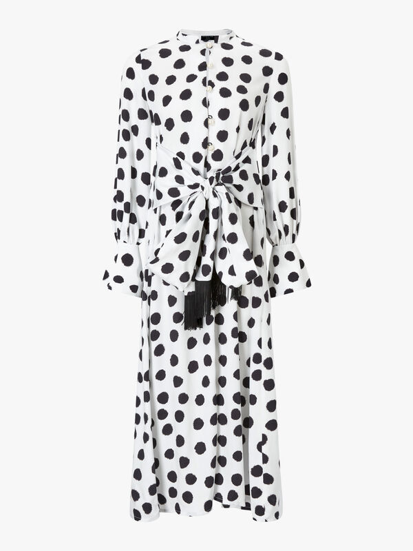 Elle Dot Tie Waist Shirt Dress
