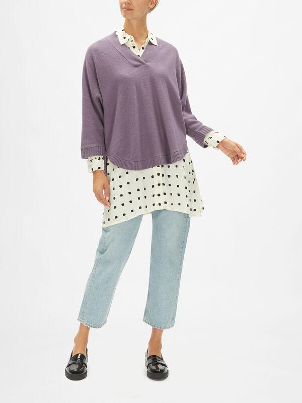 Faithe Wool Vee Knit Poncho Style
