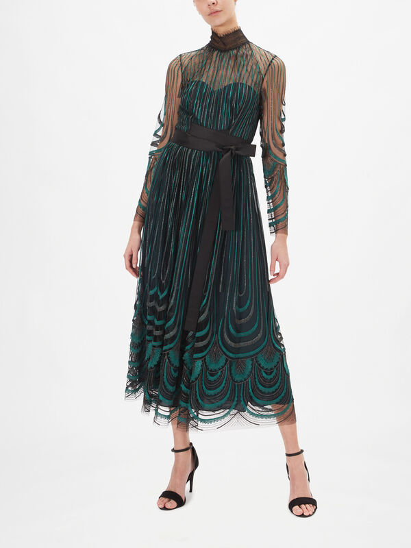 Fringed Embroidery High Neck Dress