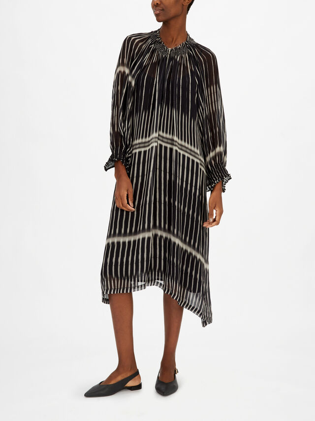 Stripe Print Zip Neck Midi Dress with Balloon Sleeves
