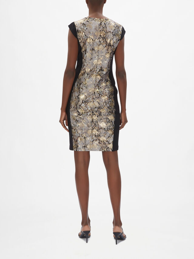 Gold Foil Snakeskin Ruch Dress