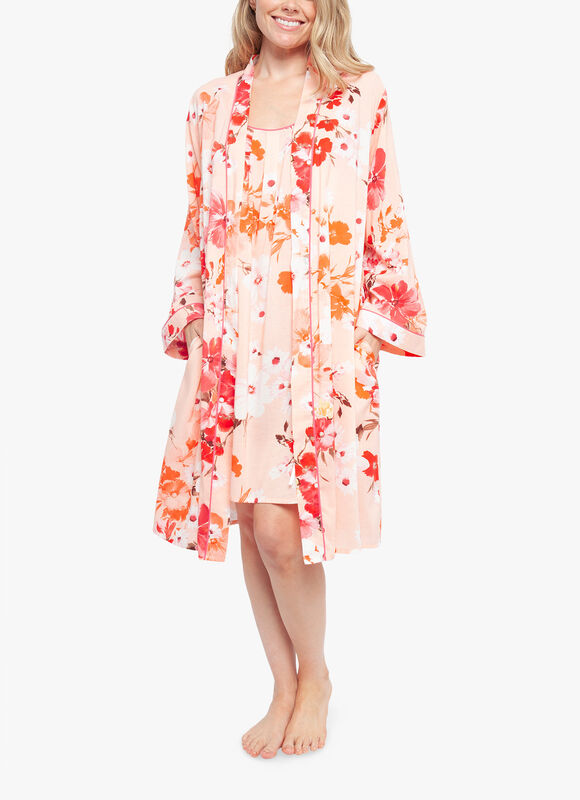 Darcie Floral Print Long Sleeve Short Robe
