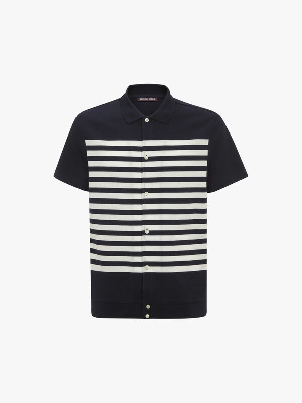 Striped Button Down Polo Shirt