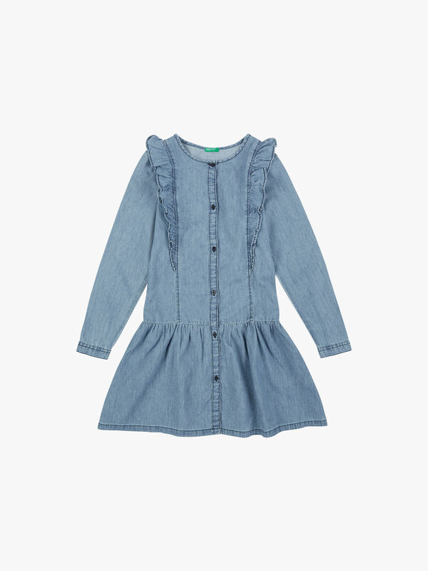 Chambray Dress With Frill