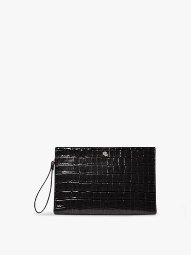 Catch All Croc Embossed Large Pouch