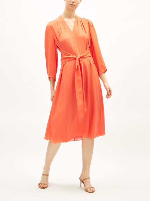 Erin Tie Front Silk Midi Dress