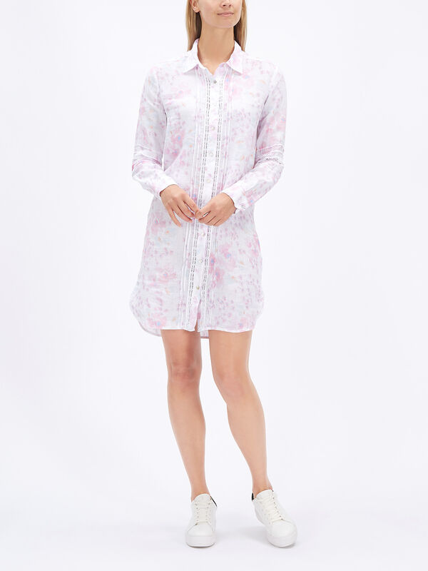 Smudge Print Long Shirt with Lace
