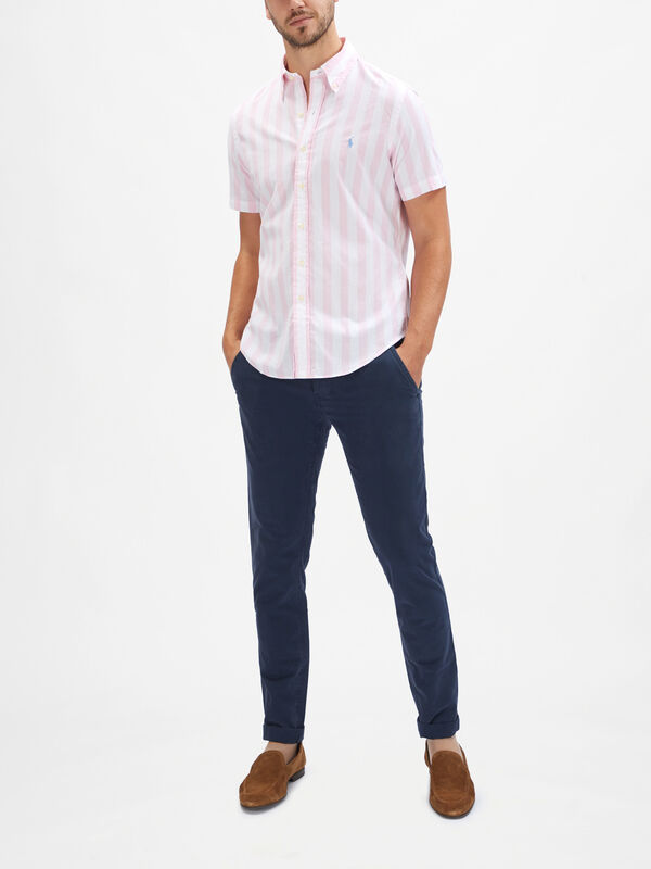 Short Sleeve Striped Custom Fit Shirt