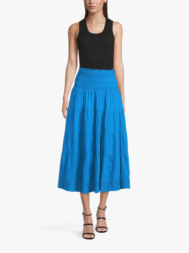 Luhanna Midi Cotton Peasant Skirt