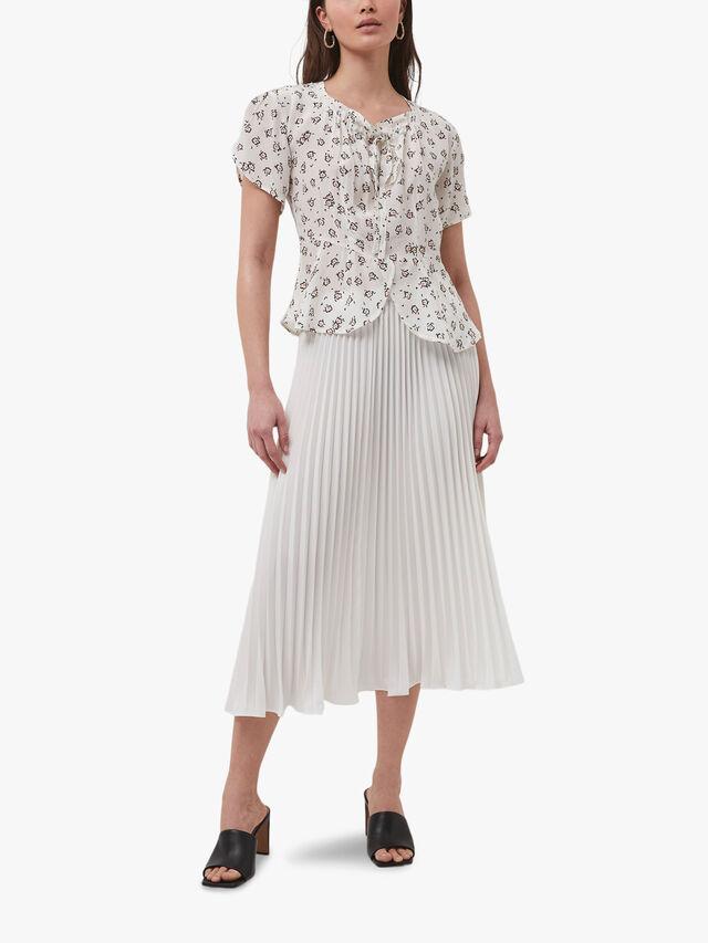 Crepe Light Pleated Midi Skirt