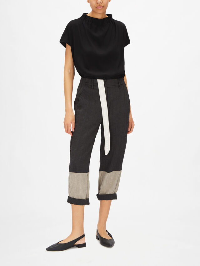 Linen Blend Button Front Cropped Trouser with Pockets