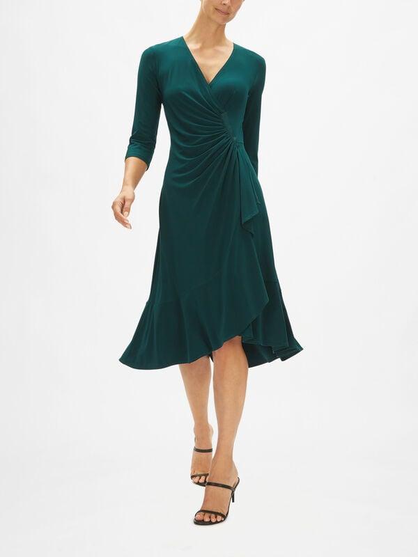 Jersey Ruch Wrap 3/4 Sleeve Dress