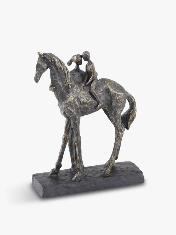 Antique Mother And Child On Horse Sculpture
