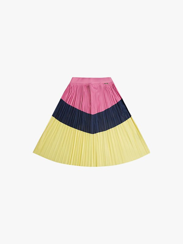 Pleated Poly Crepe Skirt