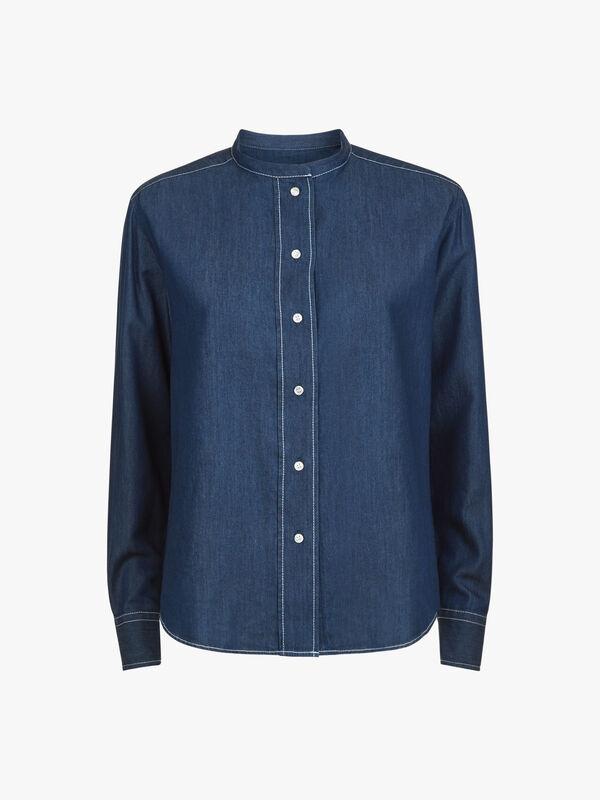 Band Collar Chambray Shirt
