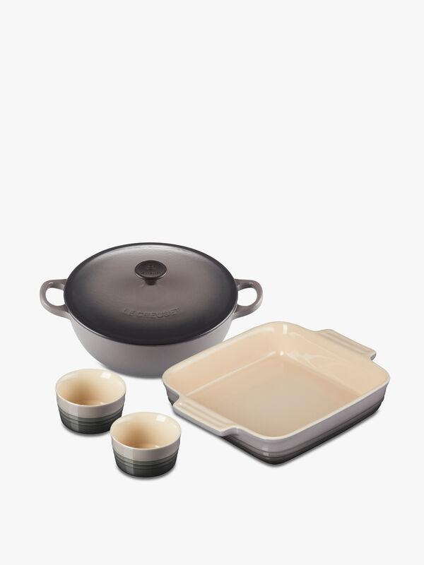 Classic Cast Iron Soup Pot, Stoneware Square Dish and Set of 2 Classic Ramekins