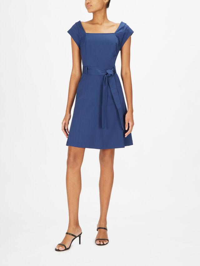 Tenda Short Sleeve Square Neck Mini Dress
