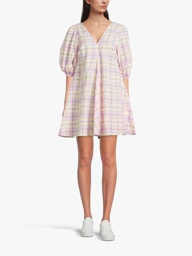 Seersucker-V-neck-Short-Dress-F5824