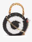 Cocinella Mini Round Crochet Bag with Bamboo Handles