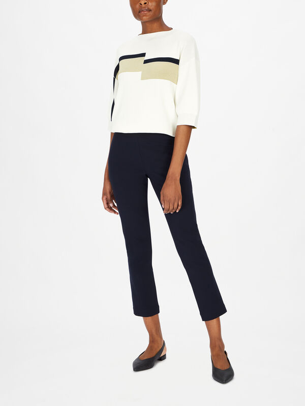 Slim Fit Pull On Cropped Trouser