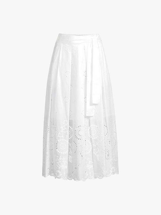 Biarritz Laser Cut Maxi Skirt With Waist Tie