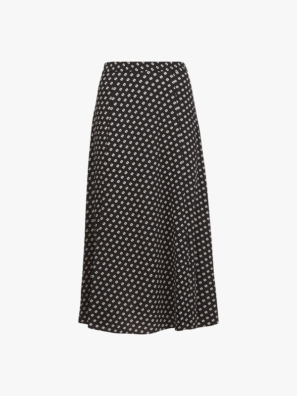 Dot Print Slit Front Skirt