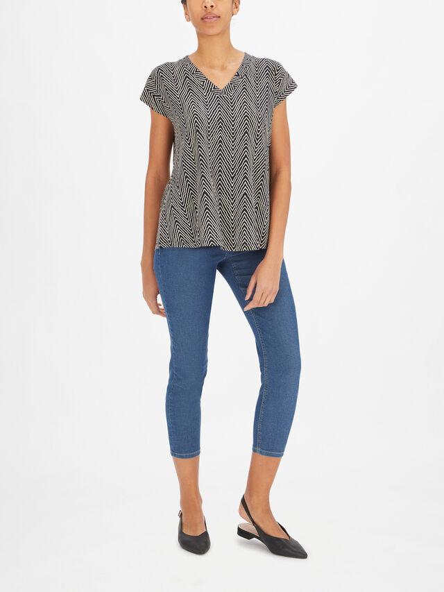 Efa Short Sleeve V Neck A Line Printed Jersey Top