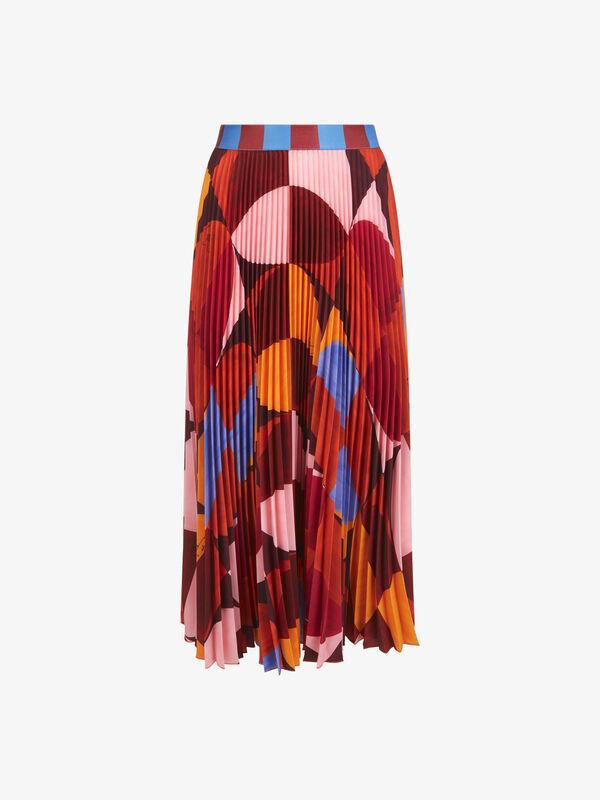Geometric Print Plisse Skirt