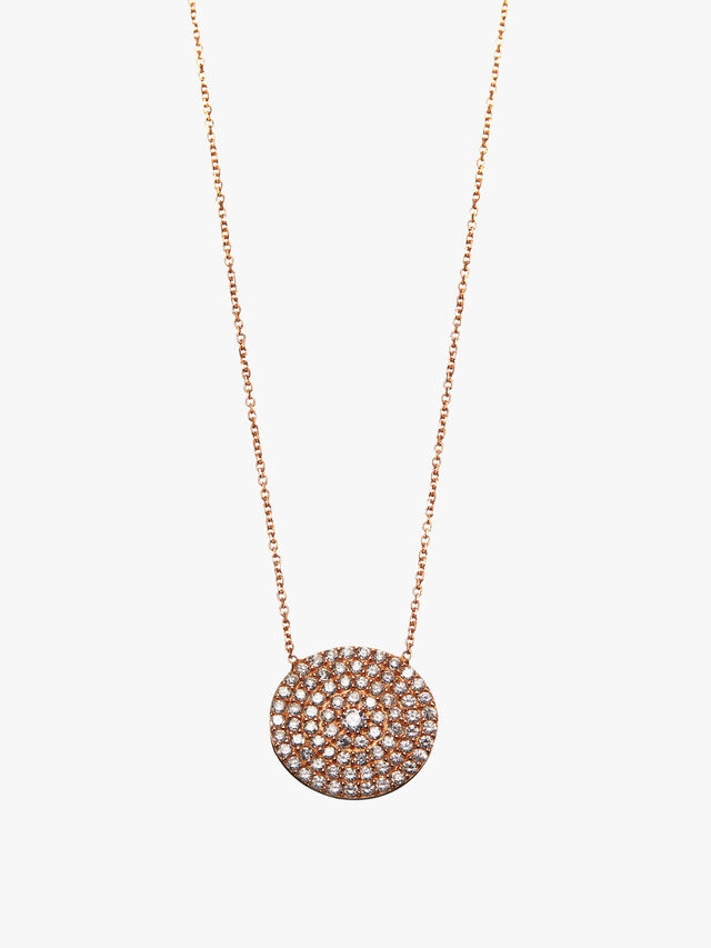 Crystal Pave Disc Necklace