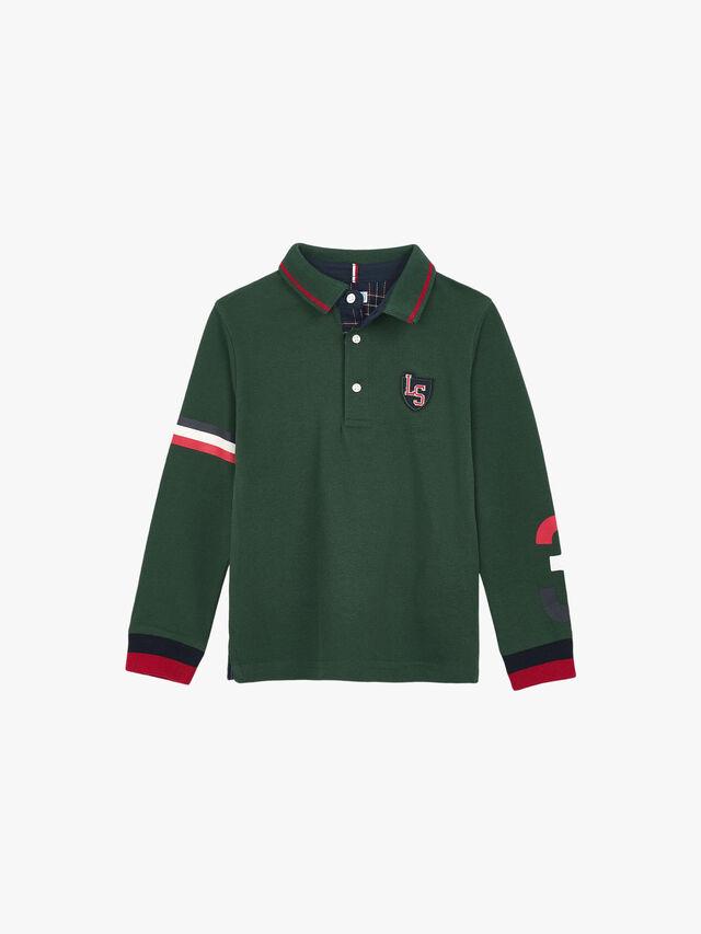 Long Sleeved Polo Top With Badge