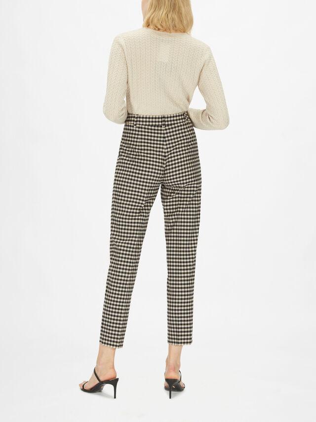 Bruna Check Stretch Tapered Trousers