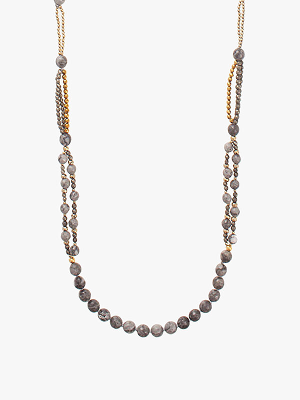 Long All Around Netstone Beaded Necklace