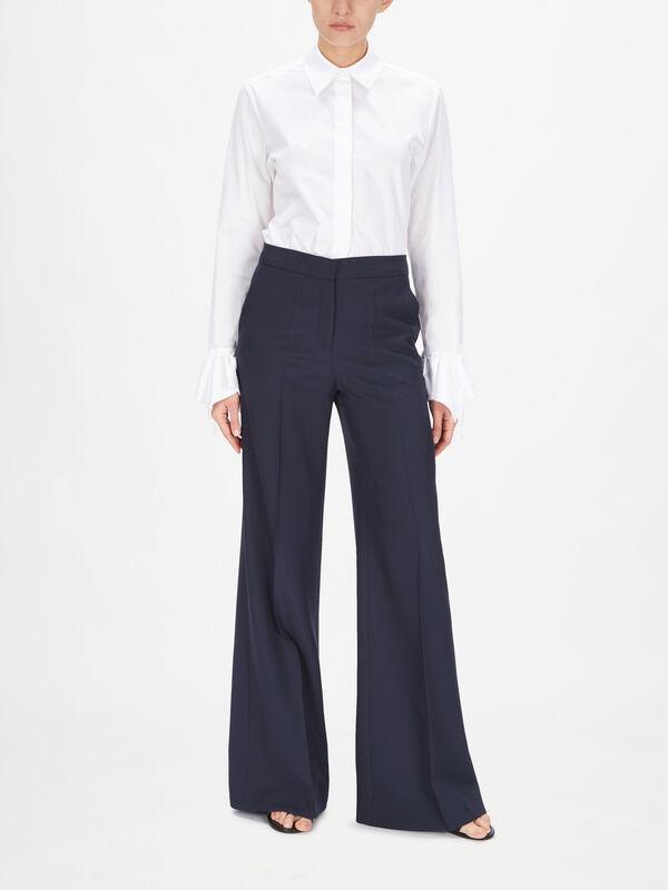 Wide Leg Wool Blend Trouser