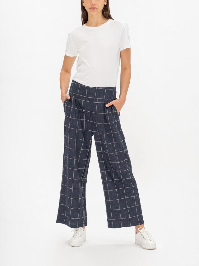 Purnis Wide Leg Pleat Front Linen Check Trouser
